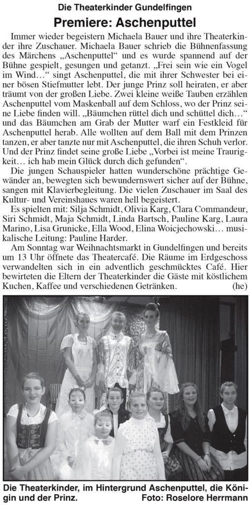 Gundelfinger Nachrichten-Kritik Aschenputtel (2016)